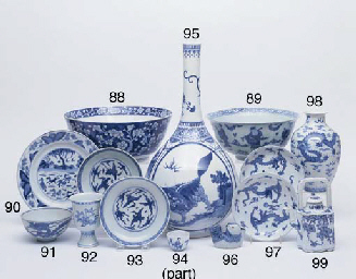 A BLUE AND WHITE SAUCER DISH