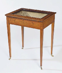 A LATE VICTORIAN INLAID SATINW