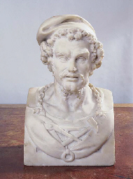A FRENCH MARBLE BUST OF VULCAN