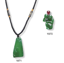 A JADEITE MONKEY AND RUBY PEND