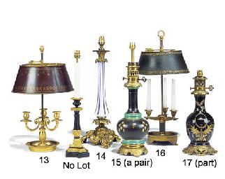 A gilt brass three light Bouil