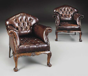 A PAIR OF MAHOGANY EASY ARMCHA