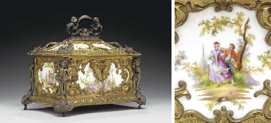 AN ORMOLU AND BRONZE MOUNTED B