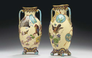 A PAIR OF PARIS TWO-HANDLED IV