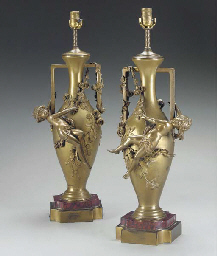 A pair of French ormolu vases,
