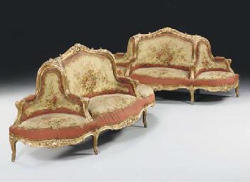 A pair of Napoleon III giltwoo