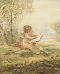 A cherub drawing in a landscap