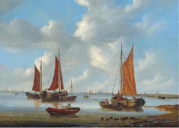 Fishing vessels off a coast on