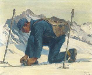 Preparing the skiis