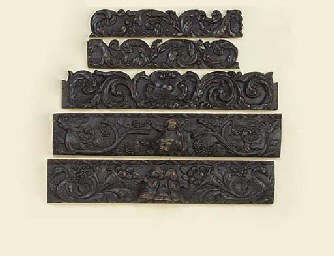 A group of seven Dutch carved