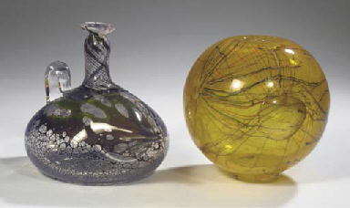 (2)  A yellow glass vase