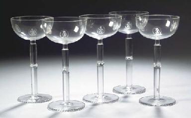 A set of five wine glasses