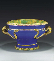 A Minton majolica urn with sna