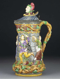 A Minton majolica pewter-mount
