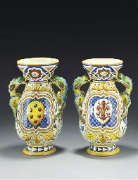 A pair of Cantagalli armorial