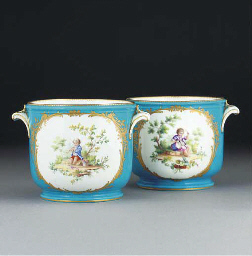 A pair of Sevres-style turquoi