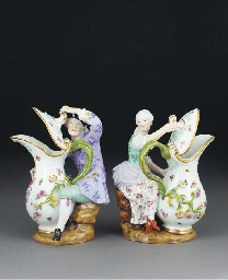 A pair of Meissen figural jugs
