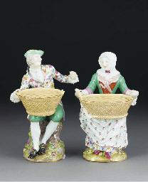 A pair of Meissen bough-pots m