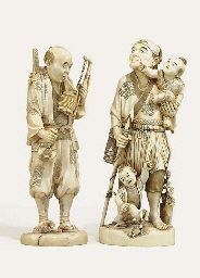 TWO IVORY OKIMONO [SCULPTURAL