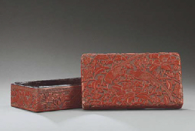 A CARVED CINNABAR LACQUER RECT