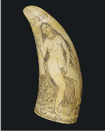 A SCRIMSHAW-DECORATED WHALE'S
