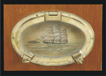AN OVAL BRASS PORTHOLE AND PIC