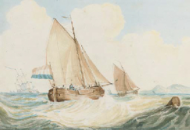 A Dutch kaag in heavy weather