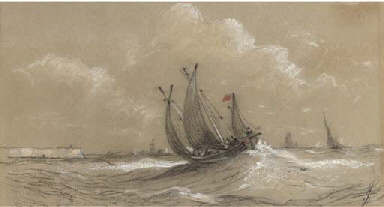 A fishing lugger off Yarmouth