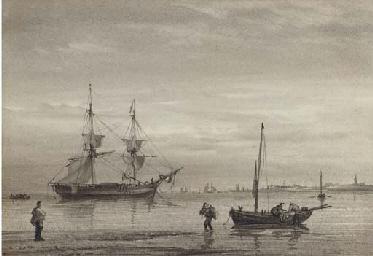 A trading brig lying at anchor