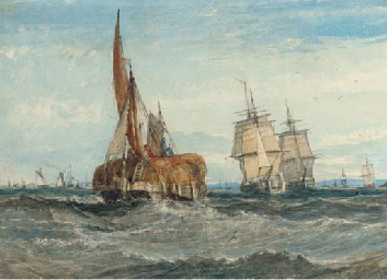 A hay barge and merchant ships
