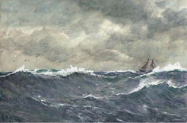 In a heavy swell