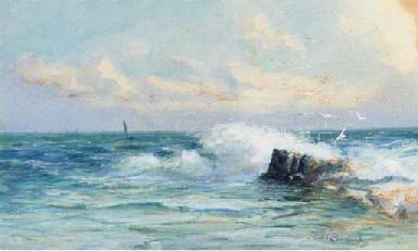 Waves crashing on the rocks wi