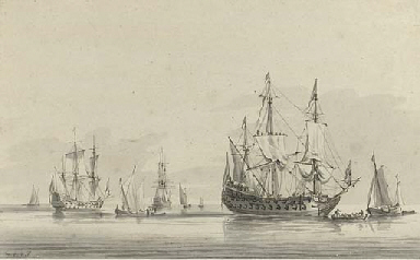 Men-o'war becalmed offshore