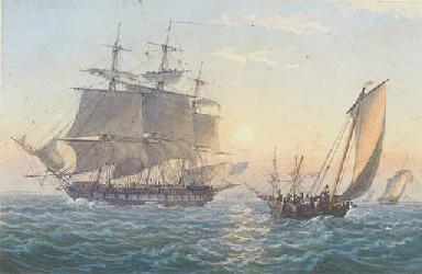 A Royal Naval frigate heaving-