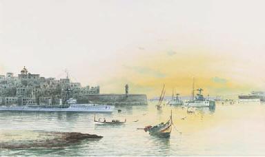 Battleships lying at anchor in