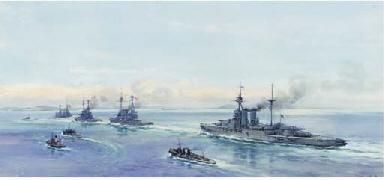 Battleships under escort in th