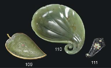 A MUGHAL MOTTLED GREEN JADE FL