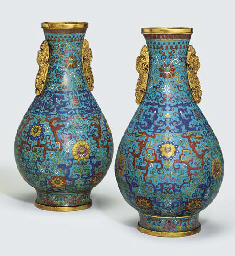 A PAIR OF CLOISONNE ENAMEL TWO