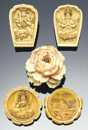 Two Japanese stained ivory box