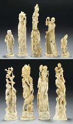 Nine Japanese ivory okimono, M