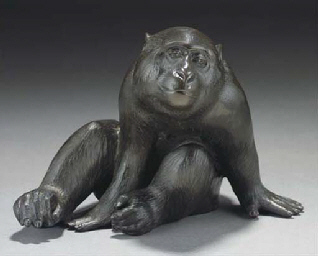 A Japanese bronze model of a m