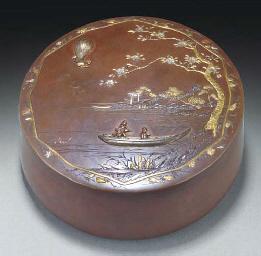 A Japanese bronze circular inl