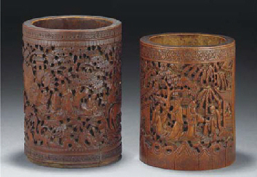 Two Chinese bamboo brushpots,