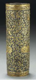 A Chinese gilt bronze cylindri