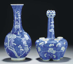 A Chinese blue and white bottl