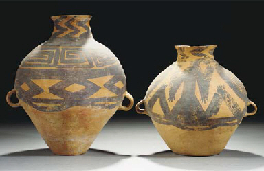 Two Chinese painted pottery ja