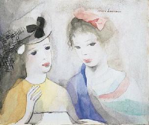 Deux jeunes filles, en jaune a