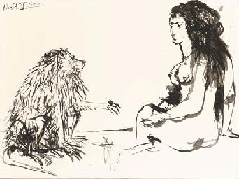 Femme assise et singe