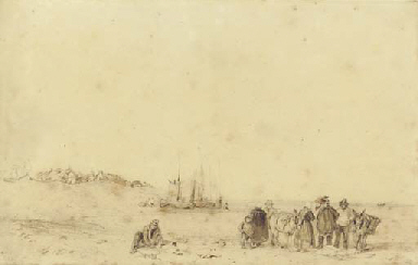 Fisherfolk at low tide, Norman