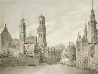 Two views of Bruges, Belgium